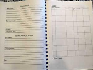 дневник питания и тренировок