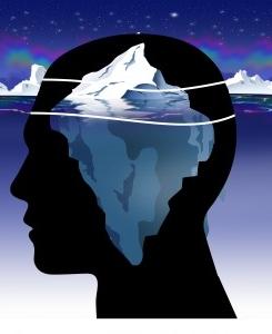 Схема изображения подсознания в виде айсберга